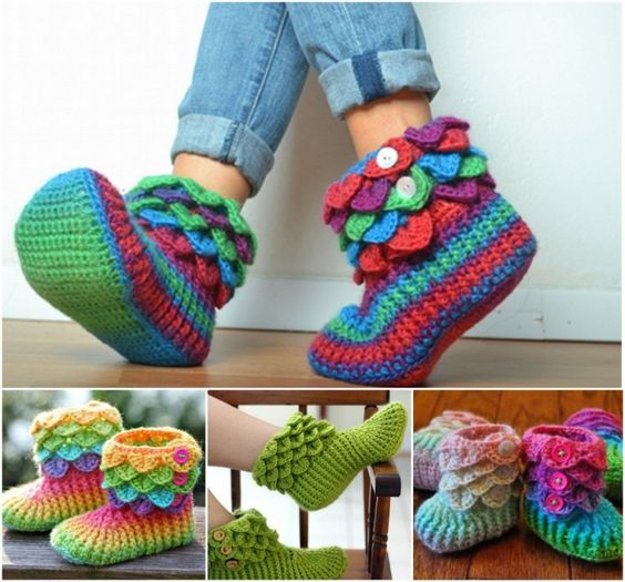 crocodile stitch crochet boots