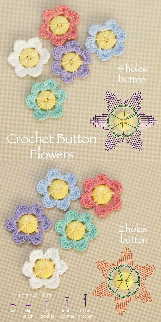 diy Crochet Button Flowers 2