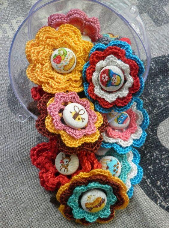 diy Crochet Button Flowers 3