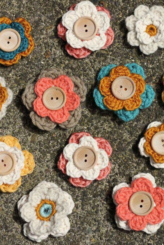 diy Crochet Button Flowers 4