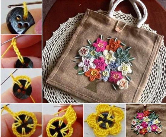 diy Crochet Button Flowers 5