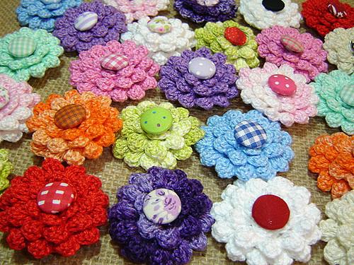 diy Crochet Button Flowers 6