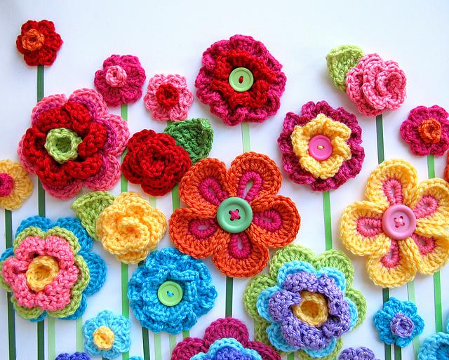 diy Crochet Button Flowers 7