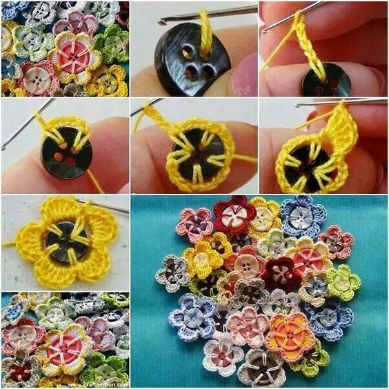 diy Crochet Button Flowers