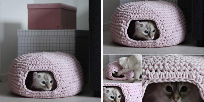 diy Crochet Cat Cave 1