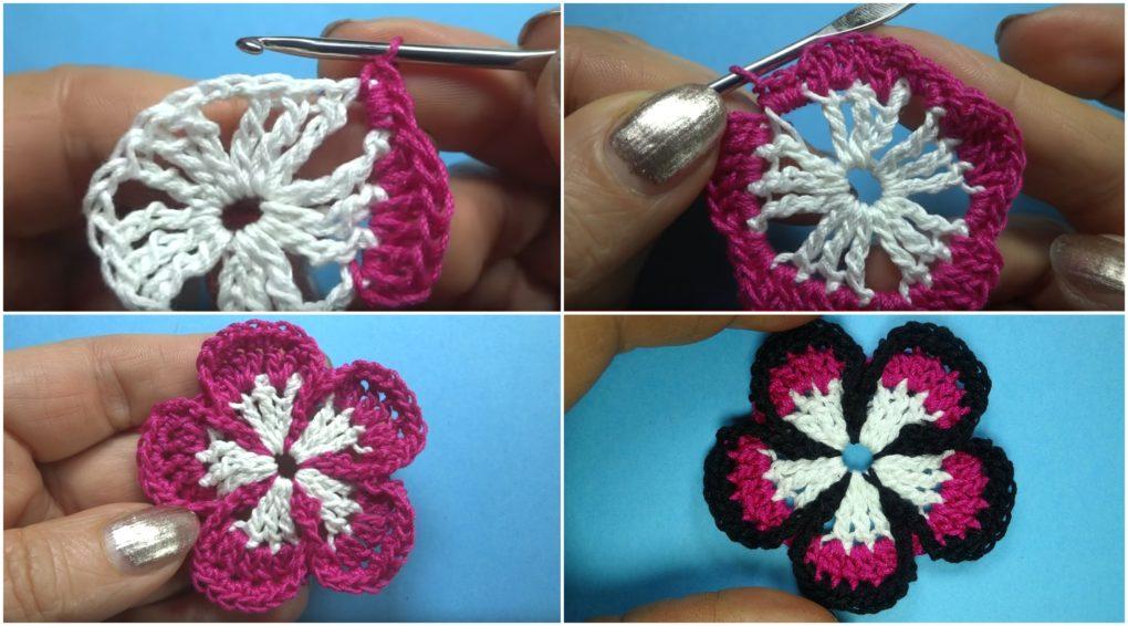 Crochet Five Petal Flower
