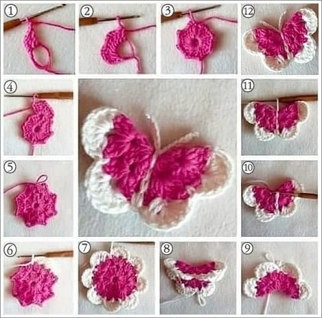how to crochet a butterfly step by step
