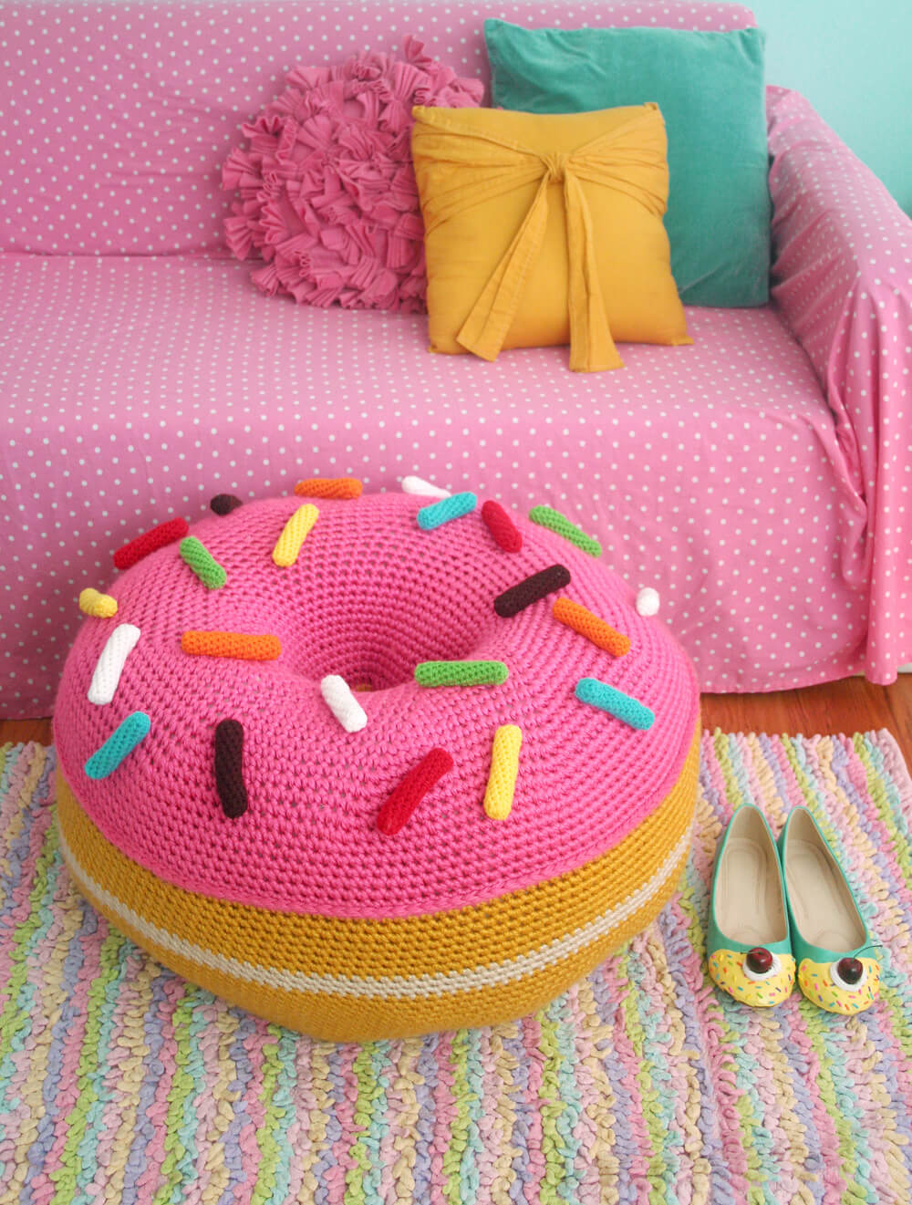 how to crochet a floor pouf 7