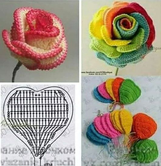 how to crochet roses 1