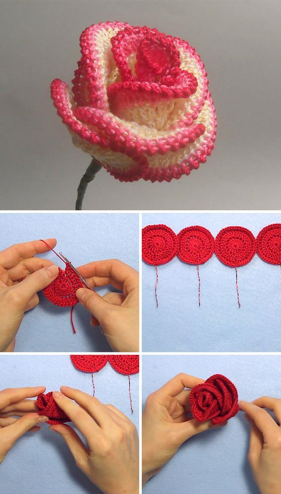 how to crochet roses 2