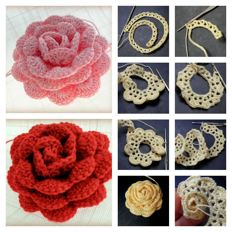 how to crochet roses 9