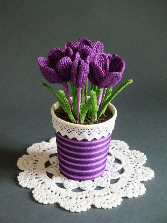 how to crochet tulips tutorial 2