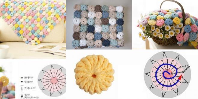 how to crochet yo yo flower stitch