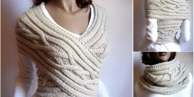 knit sweater cable cowl