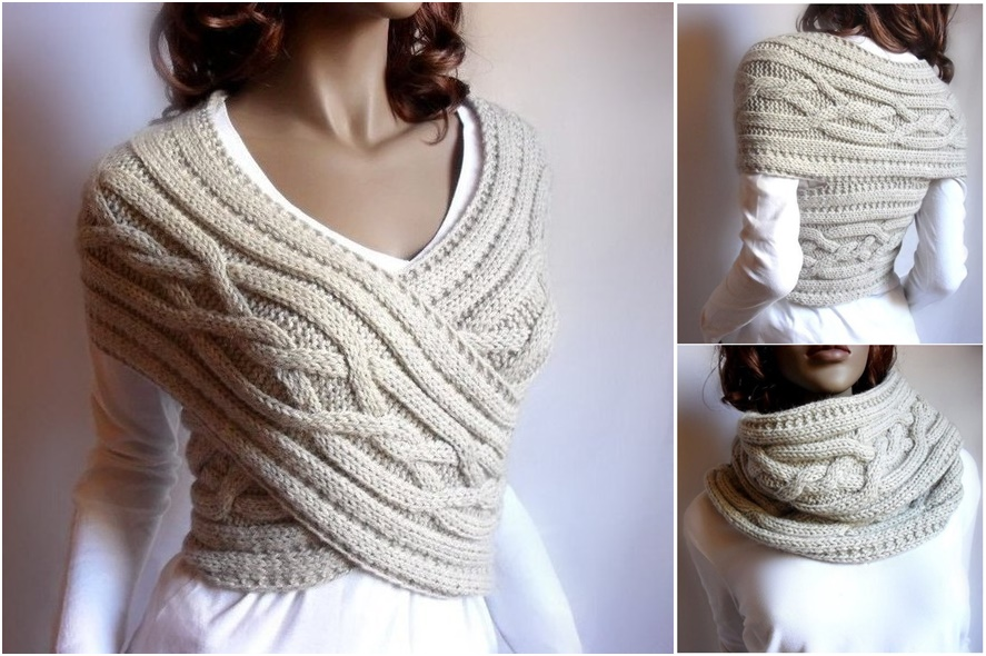 f932c5277 Knitted Womens Sweater Cowl Vest Pattern (Video Tutorial)