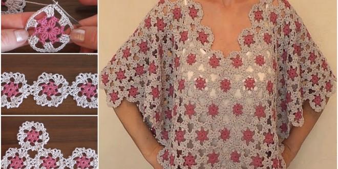 motif tunic poncho