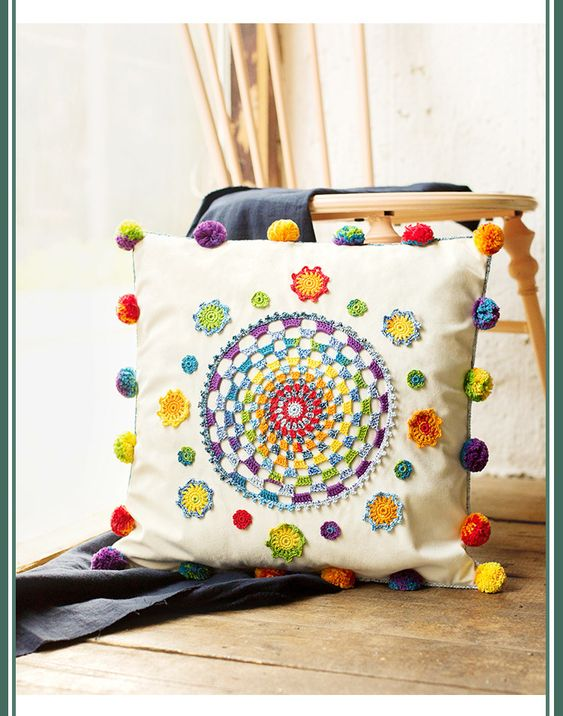 pillows decorated with crochet 15