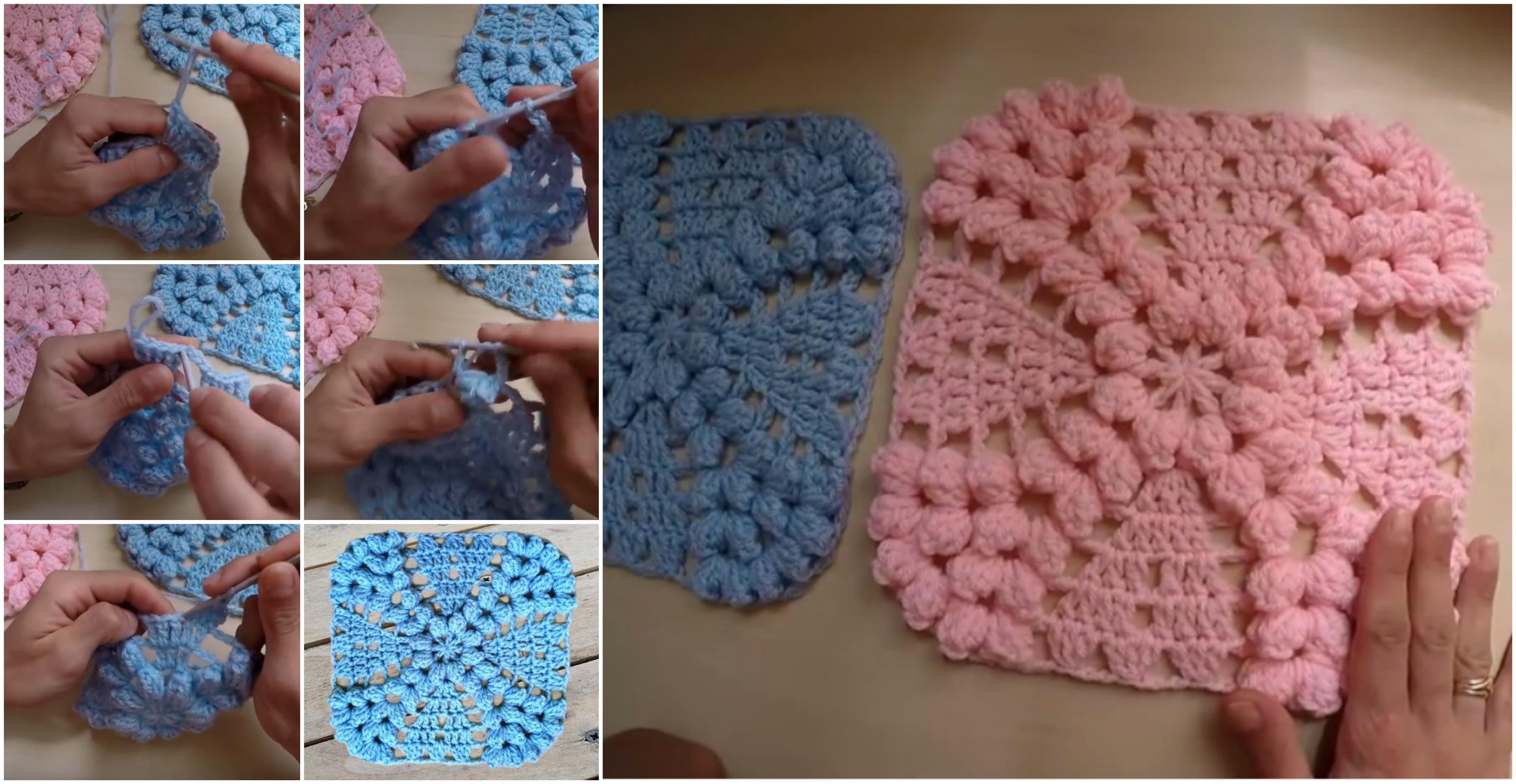Crochet Pearl Flower Popcorn Square Motif