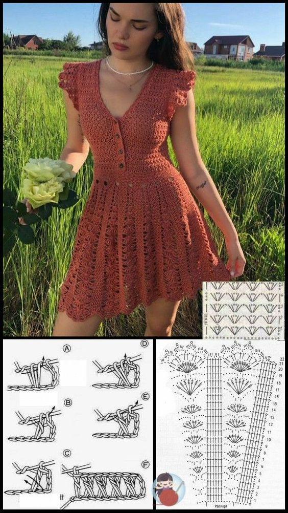 pretty short crochet dresses patterns 2