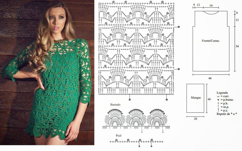 pretty short crochet dresses patterns 3