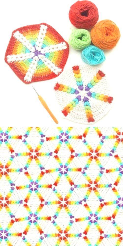 rainbow puff hexagon 1