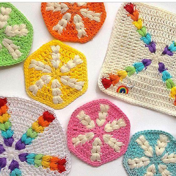rainbow puff hexagon 2