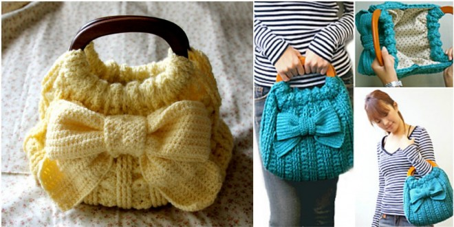 ribbon crochet bag