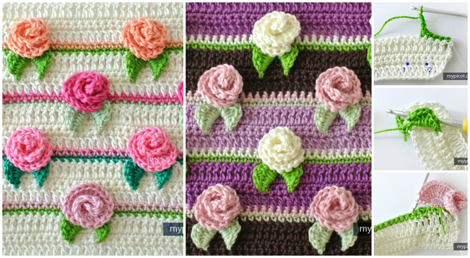 Crochet Rosebud Stitch Diagram