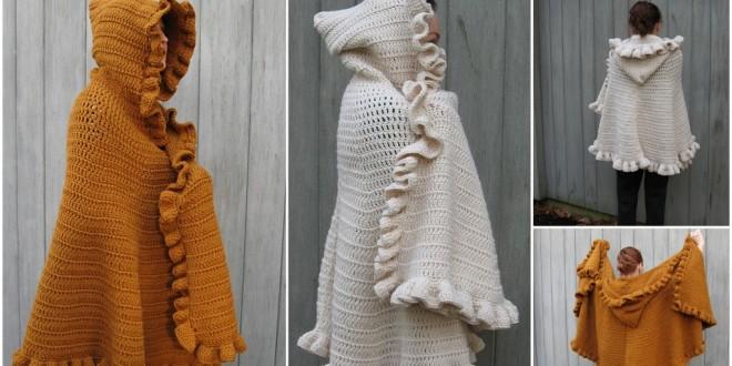 ruffled shawl with hood crochet