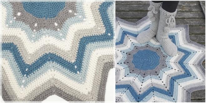 rug blue star collage