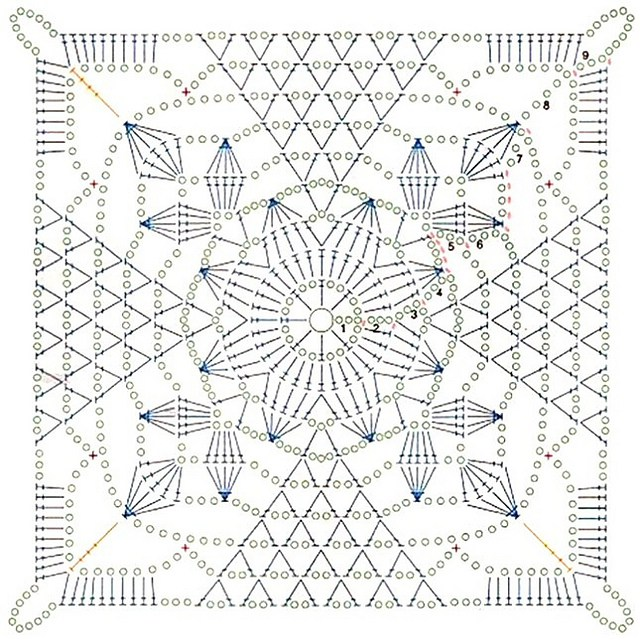 rustic lace square  free pattern   diagram