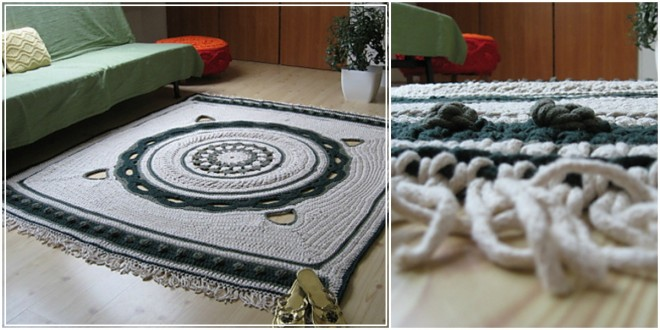 white green crochet carpet